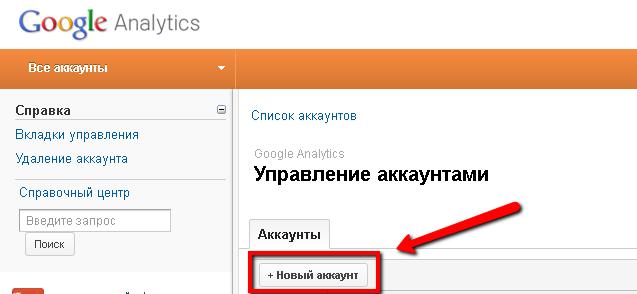 Подключению к аккаунту Google.Analytics